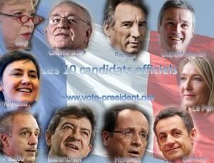 10 candidats officiels 300x229  Résultats des élections en France